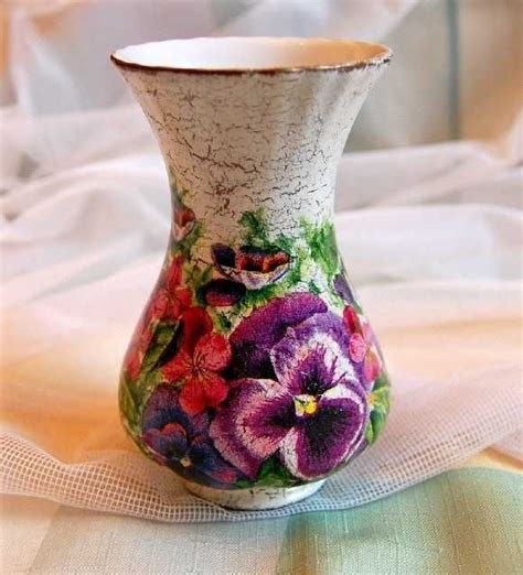 Decoupage Glass Vase - ornaments decoupage glass vase with pansies decor