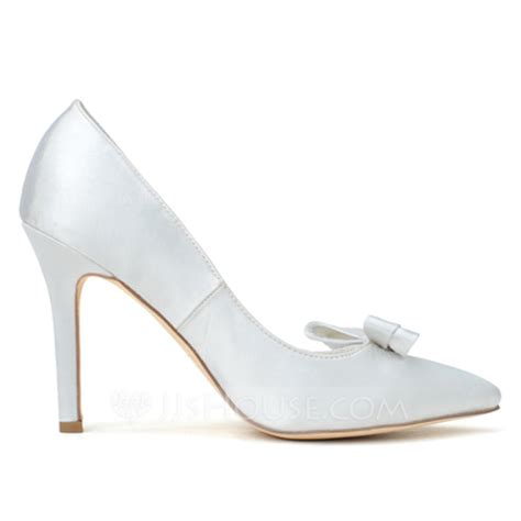 43216 White Summer s satin stiletto heel closed toe pumps with bowknot
