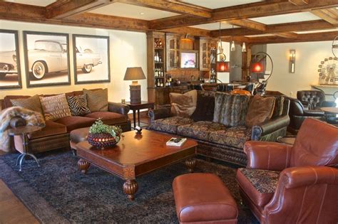 lodge style living room lodge style family living with modern amenities rustic family room philadelphia by world
