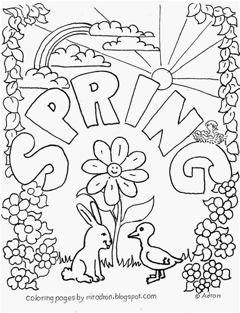 spring coloring sheets coloring pages for kids by mr adron spring free