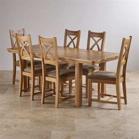 Oak Dining Table Sets Canterbury Extending Dining Set Table 6 Fabric Chairs