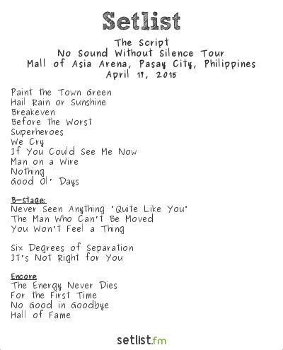 the script setlist the script setlist mall of asia arena pasay city
