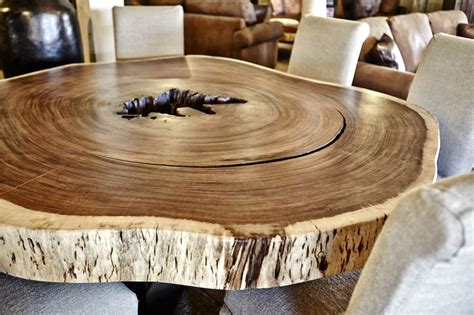 Handmade Guanacaste Slab Round Dining Table by Blowing Rock WoodWorks   CustomMade.com