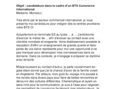 Lettre De Motivation Apb Bts Ci Lettre De Motivation Bts Commerce International Par Lettreutile