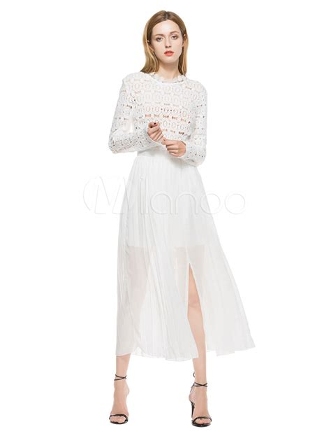 white v neck cutout back chiffon maxi dress casual dresseswomen white long dress chiffon round neck long sleeve cut out