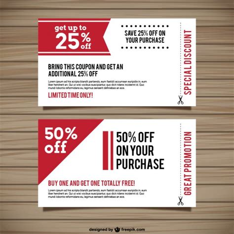promotion card template special discount coupons vector free