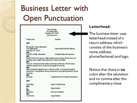 personal business letter open punctuation activity objective 4 04 apply correct letter formats ppt