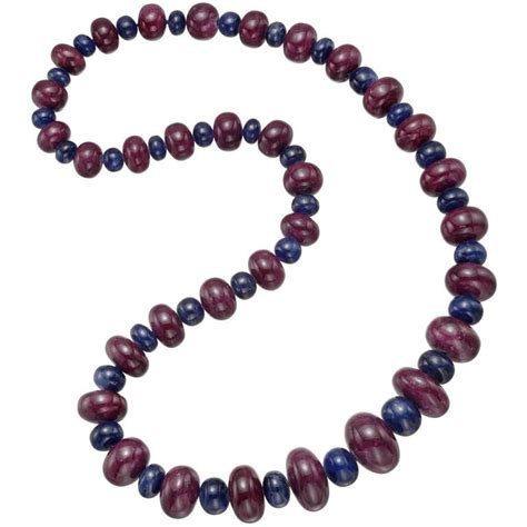 sapphire bead necklace ruby sapphire bead necklace for sale at 1stdibs