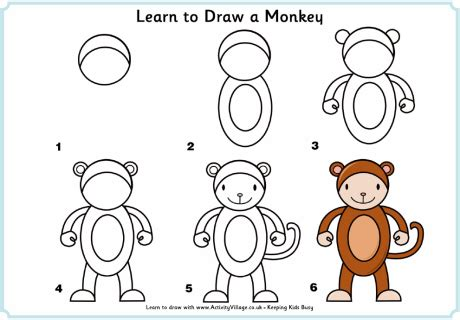 how to doodle animals learn to draw a monkey