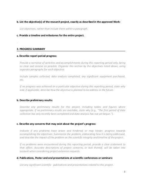 research project progress report template format for writting progress report