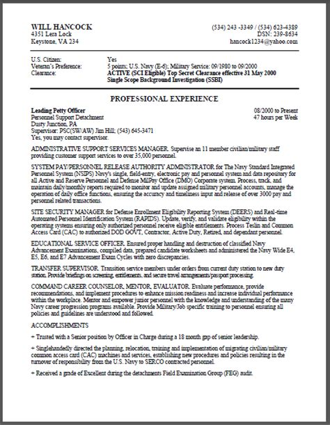 Military to Federal Resume Sample   Certified Resume