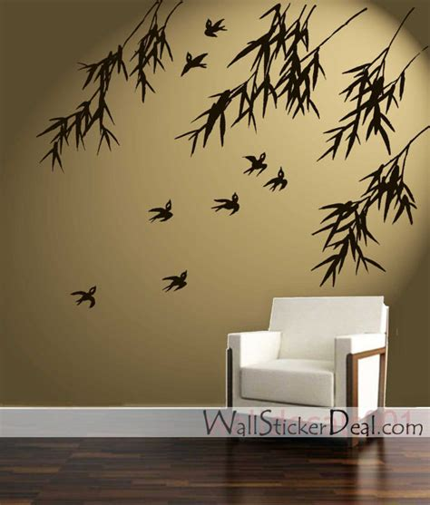 wall sticker pictures birds and bamboo wall stickers home decorating photo