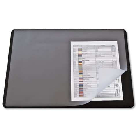 durable desk mat 400x530mm clear and black