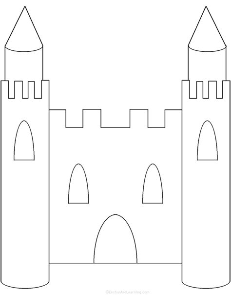 cut out castle template adjectives describing a castle printable worksheet