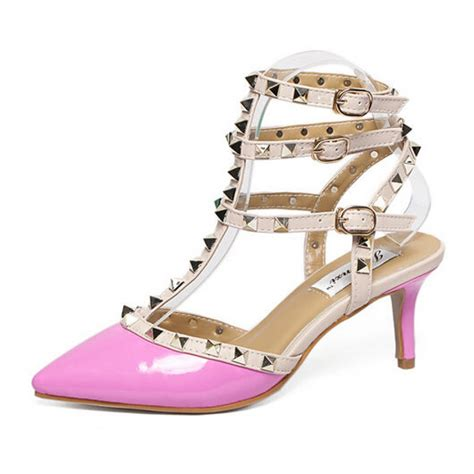 pink patent strappy studded sandals