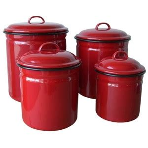 Red Glass Kitchen Canisters red enamelware 4 piece canister set retro vintage home