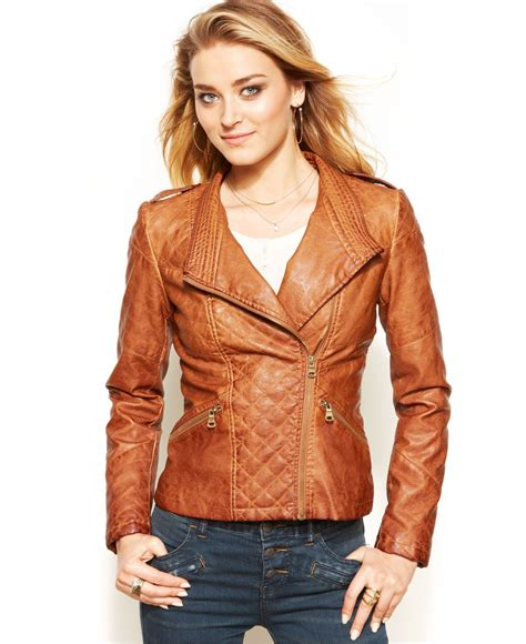 brown faux leather lyst guess quilted faux leather moto jacket in brown