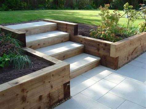 garden steps ideas sleeper retaining walls and pavior capped steps garden