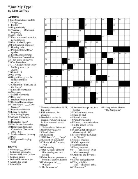 Easy Crossword Puzzles Celebrity | 6 best images of easy adult crossword puzzles printable