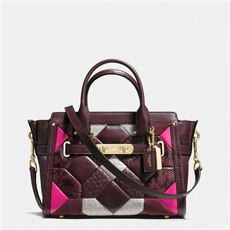 Coach Swagger 27 Pebbled Leather Embellished Quilt Satchel coach designer handbags quilt coach swagger 27 in embossed leather