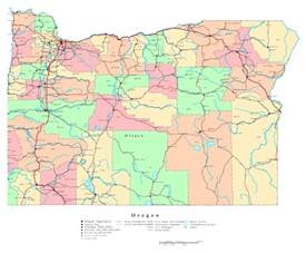 large detailed administrative map of oregon state with