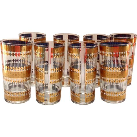 mid century barware culver mid century barware barcelona 22kt gold highball tumblers set from maggiebelles on ruby lane