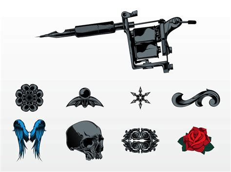 tattoo machine vector art vector tattoo set vector art graphics freevector com