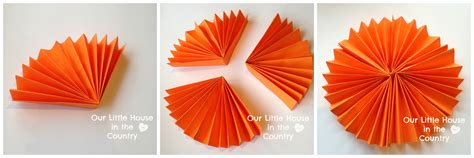 How To Make Paper Decorations - paper fan pumpkin decorations our house in the
