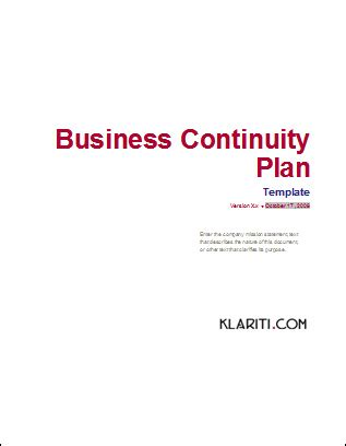 Business Continuity Plan Download 48 Pg Ms Word 12 Excel Template Business Plan Cover Page Template Word