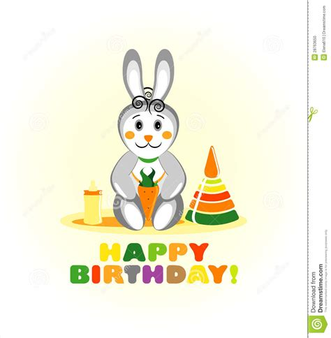 Simple Birthday Card Monochrome Rabbit Set happy birthday card with rabbit stock vector illustration of child abstract 28763650