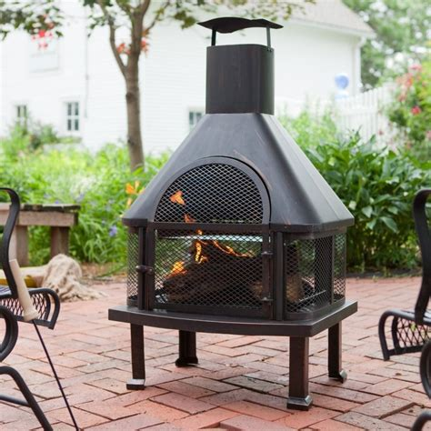 chiminea roof outside metal fireplace deck design and ideas