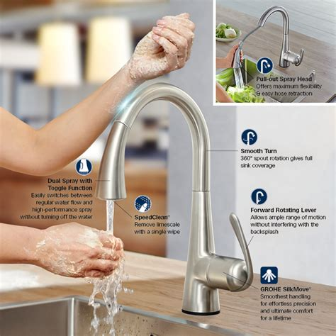 how to install a grohe kitchen faucet grohe ladylux cafe touch single handle pull down sprayer