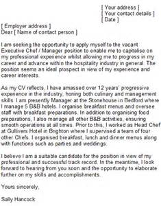 Junior Sous Chef Cover Letter by Sle Chef Cover Letter