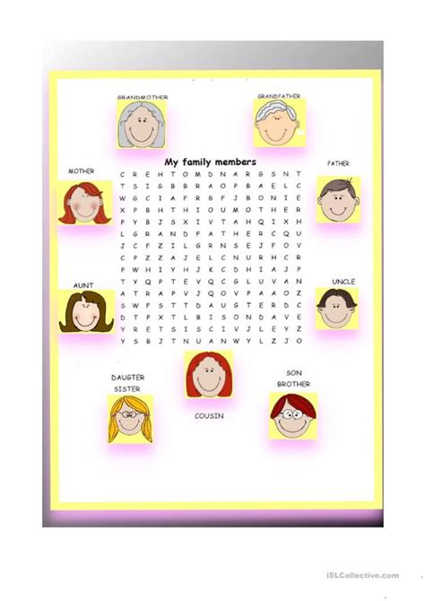 Search Family My Family Word Search Worksheet Free Esl Printable Worksheets Made By Teachers