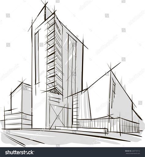 sketch office building stock vector 228770713