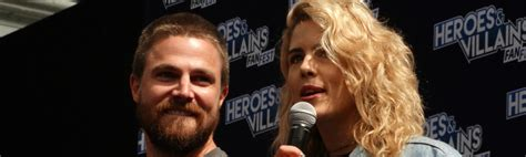 stephen amell and emily bett rickards arrow archives tvguide co uk news
