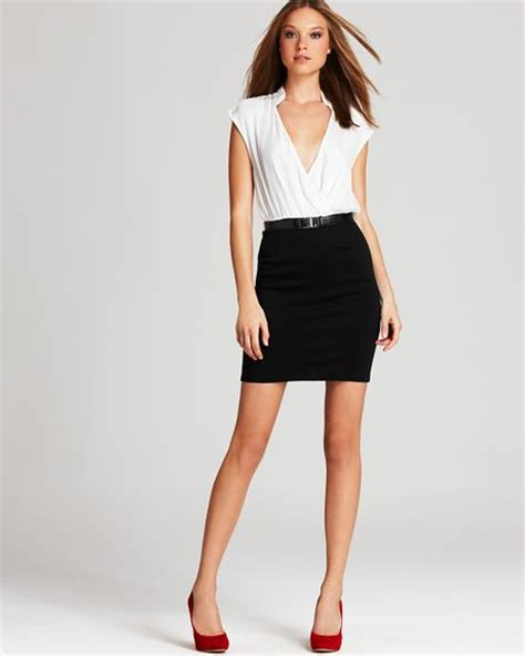 Maureen Dress Black maureen color block faux wrap dress in black black white lyst