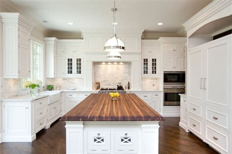 Kitchen Buffet Hutch Furniture by White Kitchen Cabinets With Butcher Block Countertops