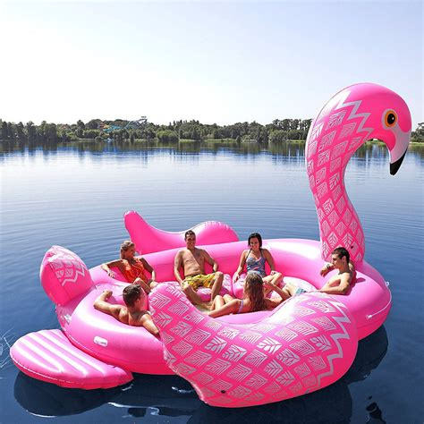 inflatable boat meme flamingo party island