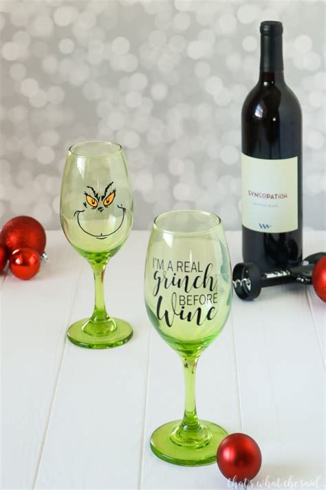 christmas wine glass svg grinch wine glasses free cut file that s what che said
