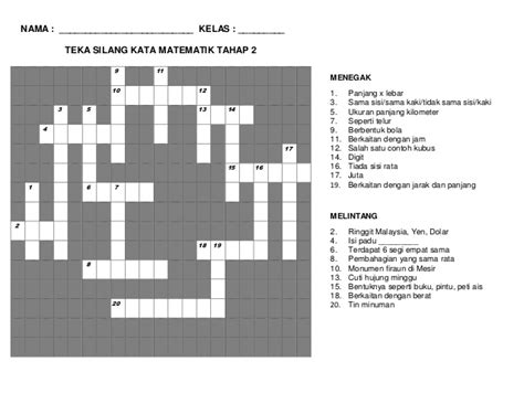 Teka Teki Sains Kelas 6 teka silang kata matematik tahun 4 soalan2