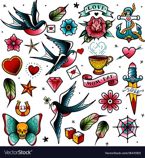 old tattoo set royalty free vector image