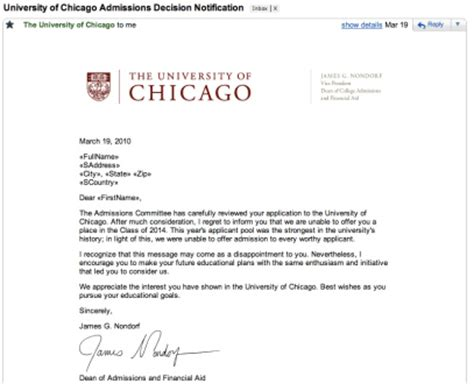 Acceptance Letter To Of Chicago Dealing With Awful Soul Crushing All College Rejection Letters I Draw Sometimes
