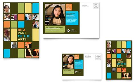 arts council education postcard template design