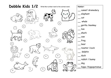printable worksheets animals dobble kids animal worksheet