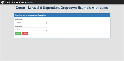 laravel 5 dynamic layout how to make simple dependent dropdown using jquery ajax in