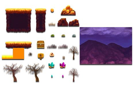 volcano platform tileset opengameartorg