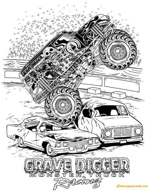 Grave Digger Monster Truck Racing Coloring Page Free Grave Digger Truck Coloring Pages