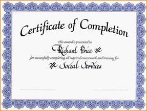 free template certificate of completion 6 certificate of completion template free printable