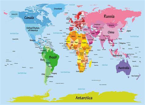 kids big text map   world